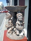 African Carved Figural Stool--Luba